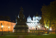 The monument Millennium of Russia and the St. Sophia Cathedral in october night. Veliky Novgorod Royalty Free Stock Photography