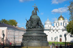 The monument Millennium of Russia and the St. Sophia Cathedral, sunny october day. The Kremlin of Veliky Novgorod royalty free stock photography