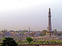 Monument Minar-e-Pakistan, Lahore, Pakistan. Minar-e-Pakistan is a public monument located in, adjacent to the Walled City of Lahore, in the Pakistani province royalty free stock image