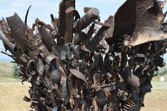 Monument of mines, grenades, bullets and shell fragments. To remember descendants of the horrors of war. The Great Patriotic War Royalty Free Stock Images