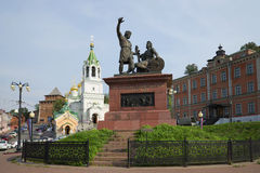 Monument Minin and Pozharsky grateful Russia and the church of St John the Baptist. Nizhny Novgorod Stock Photography
