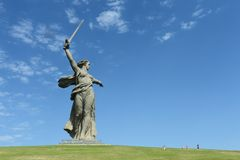 The monument the Motherland calls of the Mamaev Kurgan in Volgograd Stock Image