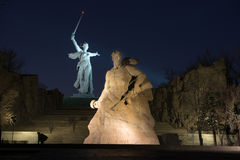 The monument of Motherland Calls in Mamayev Kurgan memorial complex. At night in Volgograd (former Stalingrad), Russia stock image