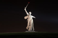 Monument of Motherland Calls in Mamayev Kurgan. The monument of Motherland Calls in Mamayev Kurgan memorial complex at night in Volgograd (former Stalingrad) royalty free stock images