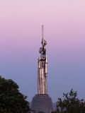 Monument of the Motherland in Kiev in ivening pink Royalty Free Stock Photos