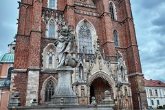 Monument near the Breslauer Dom Cathedral of St John the Baptist in Ostrow Tumski district of Wroclaw, Poland. stock image