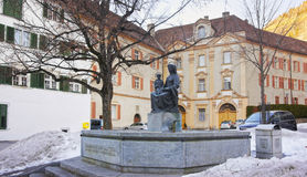 Monument near Cathedral of the Assumption in Chur at sunrise Royalty Free Stock Images