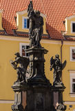 Monument near church virgin Mary in Prague Royalty Free Stock Images