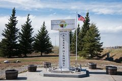 Monument Northway Junction Alaska. Monument at Northway Junction Alaska. The end of the Alaska Highway built in 1942 royalty free stock image