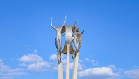 Monument O Passageiro in Londrina city. Londrina, Brazil - July 31, 2017: Monument O Passageiro in front of Terminal Rodoviario de Londrina. Tall metal sculpture Royalty Free Stock Photos