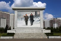 Monument och arkitektur av Pyongyang Arkivfoton