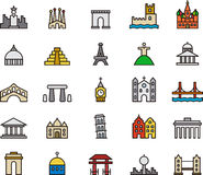 Monument- och byggnadssymboler Arkivfoto