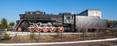 Monument Of Old Steam Locomotive. Stock Photos