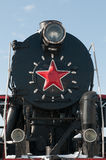 Monument Of Old Steam Locomotive In Abakan Stock Photo
