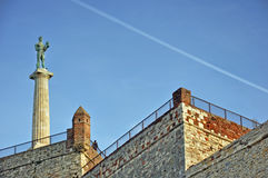 Landscape with monument at old fortress. Monument of old fortress in Belgrade,Serbia Stock Image