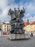 Monument on the Old Market Square in Bydgoszcz, Poland. Monument to memory of Polish citizens killed by German nazi occupants during second world war in the town Stock Image