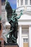 Monument op het Senaatsvierkant. Helsinki, Finland. Stock Fotografie