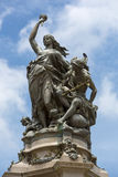 Monument on the opera square with clear blue sky, Manaus, Brazil Stock Photography