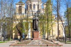 Monument and orthodox church to St. knyaz Alexander Nevsky Royalty Free Stock Image