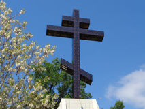Monument Orthodox cross against blue sky and spring nature. Big Orthodox cross, blue sky, acacia blossom tree Stock Image