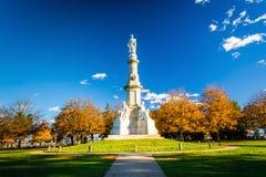 Monument på den nationella kyrkogården i Gettysburg, Pennsylvania Royaltyfria Bilder