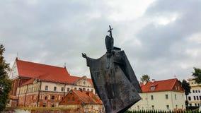 Monument Papstes John Paul II in Kaunas Lizenzfreie Stockfotos