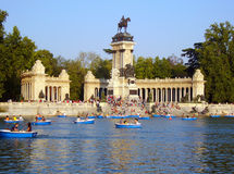 Monument in park Retiro Royalty Free Stock Image