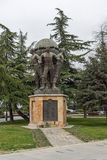 Monument and Park in Skopje City Center, Republic of Macedonia. SKOPJE, REPUBLIC OF MACEDONIA - FEBRUARY 24, 2018: Monument and Park in Skopje City Center stock photography