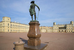 The monument of Pavel I against the Big Gatchina Palace, Leningrad region Royalty Free Stock Images