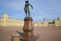 The monument of Pavel I against the Big Gatchina Palace, Leningrad region Royalty Free Stock Images