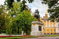 Monument of Peter the First near Mikhailovsky castle in the morn Stock Photo