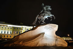 Monument of Peter the First at night Stock Image