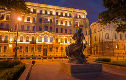Monument of Peter First 1 at night in Saint-Petersburg, Russia Stock Images