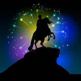 Monument of Peter the first Saint-Petersburg, Russia. Decorative illustration of bronze horseman on fireworks background.  Royalty Free Stock Images