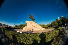 Monument of Peter the First, St.Petersburg, Russia. Fish eye lens creating a super wide angle view royalty free stock photos