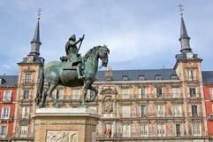 Monument of Philip III on Plaza Mayor Royalty Free Stock Photography