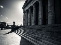 Monument with pillars in black and white Royalty Free Stock Photography