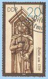Monument Pillars Roland in Halle. Germany - stamp 1987: Color edition on Sculpture, shows Historical Monument Pillars Roland in Halle Stock Photo