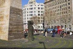 Monument in Placa DE Catalunya. Barcelona. Spanje Stock Afbeeldingen