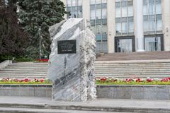 Commemorative monument ChiÈ™inau. The monument placed in front of House of government, chisinau Moldova in memory of the victims of communism royalty free stock photo