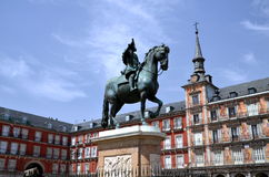 The monument of the on Plaza Mayor in Madrid, Spa Stock Images