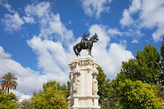 Monument on Plaza Nueva in Seville Stock Image