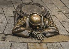 Monument plumber in Bratislava, Slovakia Stock Image