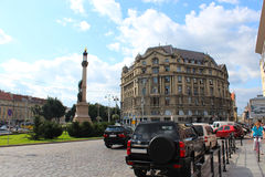 Monument of poet Adam Mickiewicz in Lvov Royalty Free Stock Images