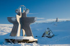 Monument at the polar circle. Marker on the Arctic Circle in Norway Stock Photo