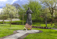 Monument of Pope John Paul II at the city gardens, Wieliczka, Po stock photos