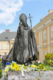 Monument of Pope John Paul II in his home town city Wadowice, Po Royalty Free Stock Photo