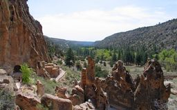 Ancient Ruins at Bandelier National Monument. The monument preserves the homes and territory of the Ancestral Puebloans of a later era in the Southwest. Most of stock images