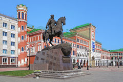 Monument of prince Ivan Obolenskiy-Nogotkov in Yoshkar-Ola Stock Photos