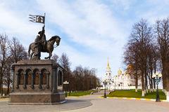 Monument of Prince Vladimir against Assumption cathedral Royalty Free Stock Images